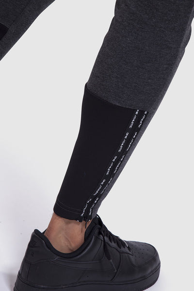 Lower leg detail of charcoal gym joggers for men