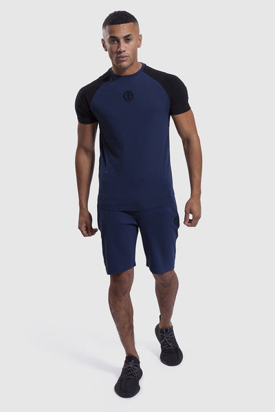 Matching training top and shorts in navy