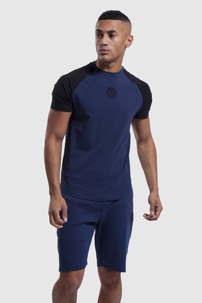 Mens navy gym t-shirt & matching shorts