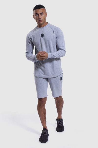 Iverson mens gym shorts and grey long sleeve top
