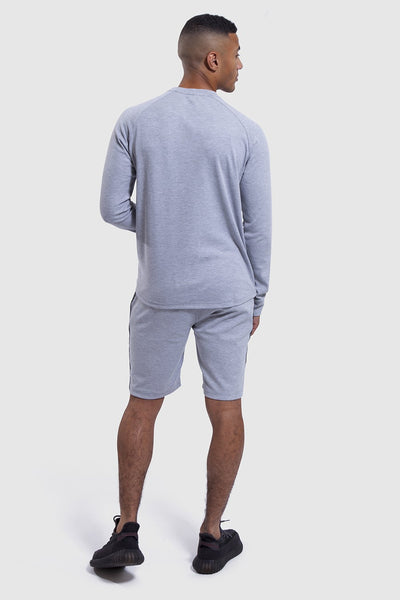 back profile of mens gym top and shorts set