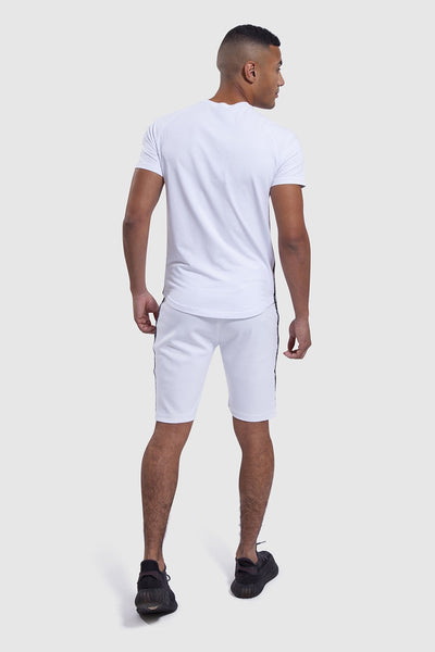 back design on white top and gym shorts set