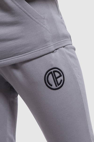 Logo detail on mens gym joggers in grey