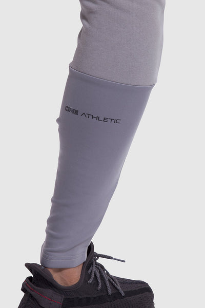 leg detail on mens gym joggers in grey