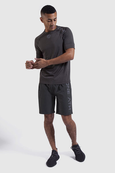 Mens gym tops and shorts in khaki