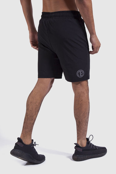 Back detail and logo of mens training shorts