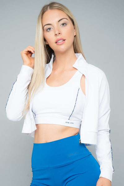 Lorella Cropped Jacket with funnel - White