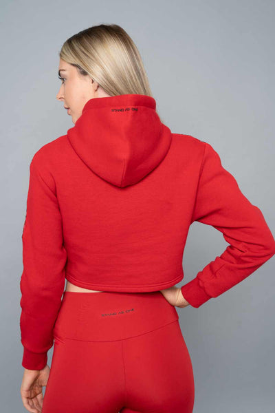 Payton Cropped Hoodie - Red