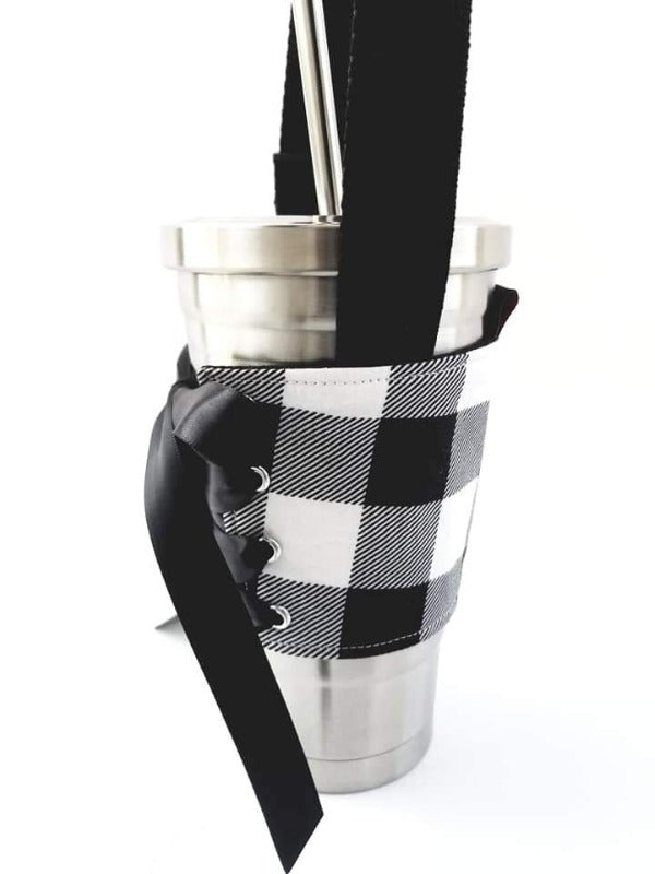 White Buffalo Plaid Tumbler Holder with Handle
