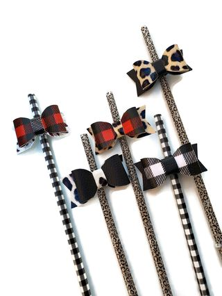 Buffalo Plaid and Leopard Straws and Toppers
