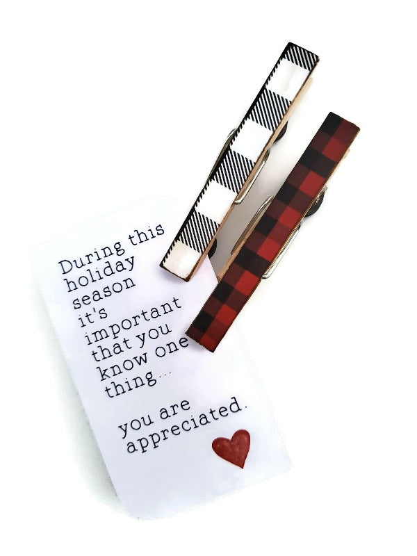 Buffalo Plaid Magnet Clips