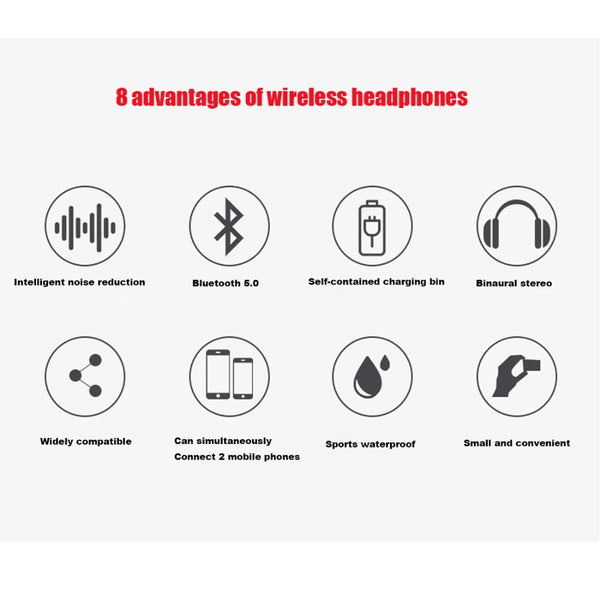 Wireless headphones 5.0 bluetooth (i9 tws)
