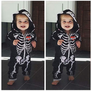 Skeleton baby zipper bodysuit