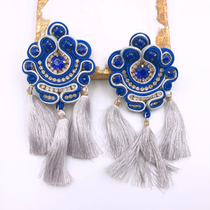Triple Tassel Silver/Blue