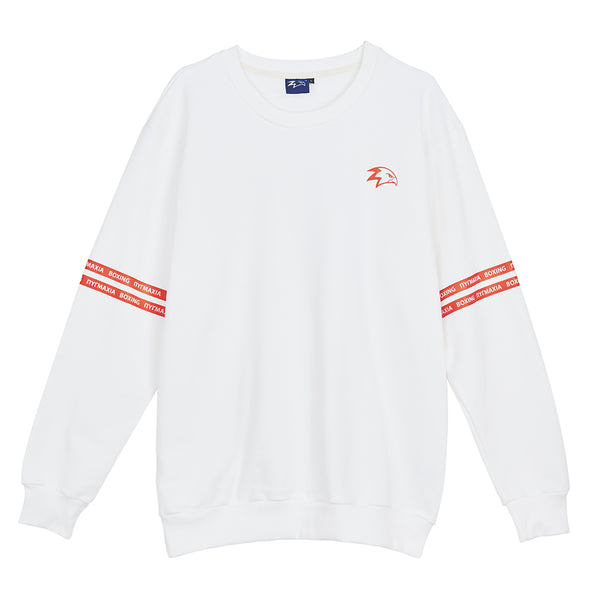 Fight Since 688 BC White Crewneck Sweatshirts