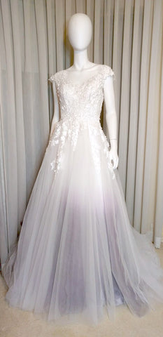 lavender ombre dip dye nontraditional bridal gown wedding dresses