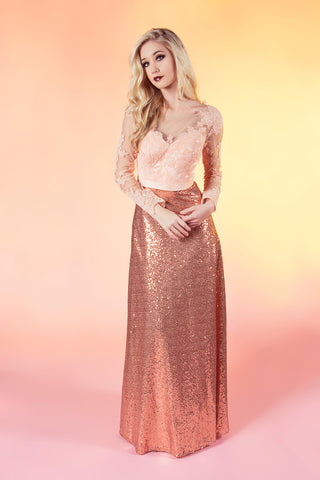91802 Hannah: lace illusion sequin bridesmaid A-line prom dress