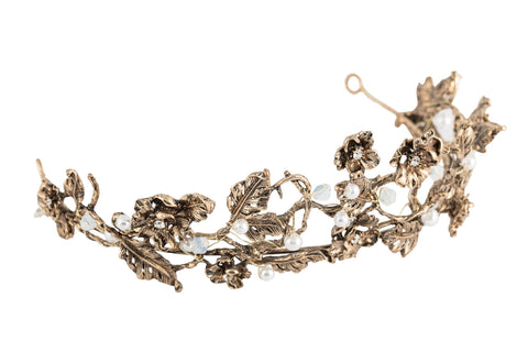 Neoclassic Crown Bridal Hair Accessory Antique Gold