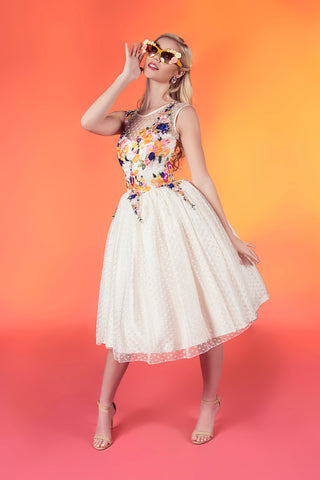 11804 Shelby Marie retro polka dot tea length short bridal gown