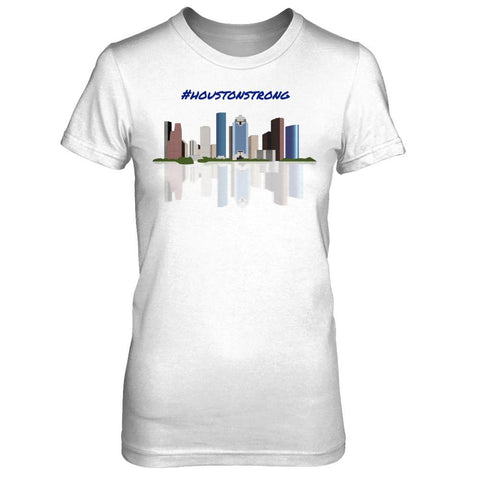 #HoustonStrong Skyline reflection women's tee