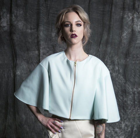 "J115A: ""Blondie"" crop jacket bridal bolero"