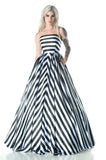 11503 Lydia Chevron Stripe Wedding Gown with pockets