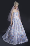 11703 Willa Floral Print Stripe Organza A-line Bridal Gala Gown dress