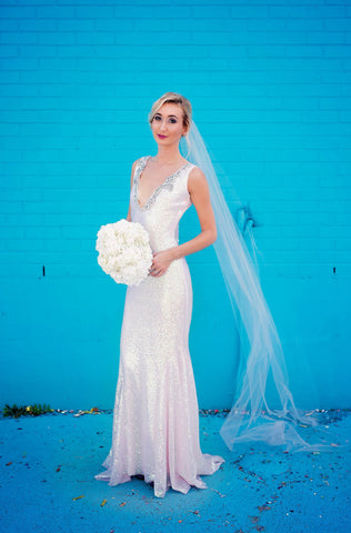 11704 Aurora sequin rhinestone iridescent mermaid Vneck wedding gown
