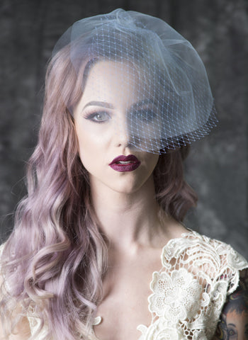 "V115A ""Lisa Marie"" color 3-tier Birdcage Veil"