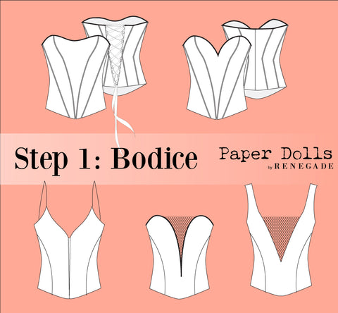 Step 1: Paper Dolls Bodices Tops Mix and Match Separates Bridal Prom Quince Gala Dresses Gown