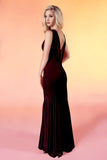 91801 Vera stretch velvet bridesmaid prom dress mermaid V back