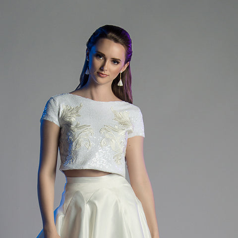 Huldah: Sequin Lace Crop Bridal Top