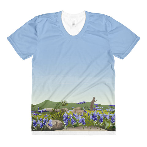 Allover print tee: Wimberley Bluebonnet Texas Hill Country