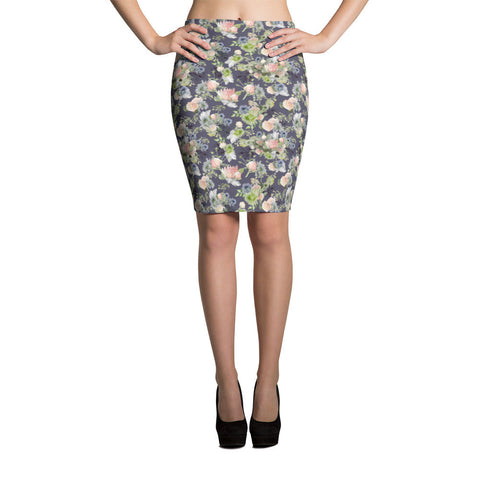 "Pencil Skirt, ""Maggie"" Watercolor Floral, slate"