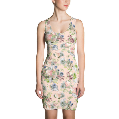 Print Minidress: Maggie Watercolor, Blush