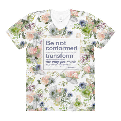 Allover print tee: Romans 12 watercolor floral