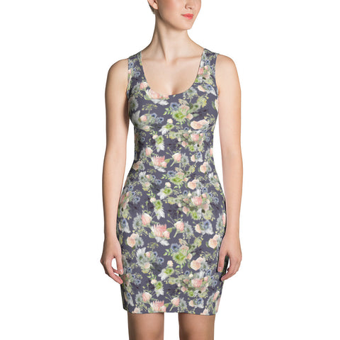 "Bodycon Dress: ""Maggie"" watercolor floral, slate"