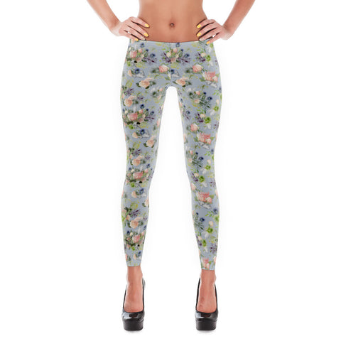 "Leggings: ""Maggie"" Watercolor Floral, Periwinkle"