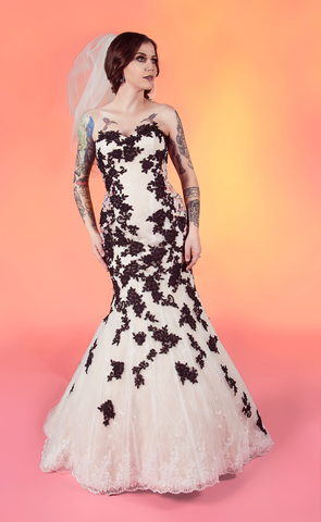 11803 Odessa: Lace mermaid with floral print accent