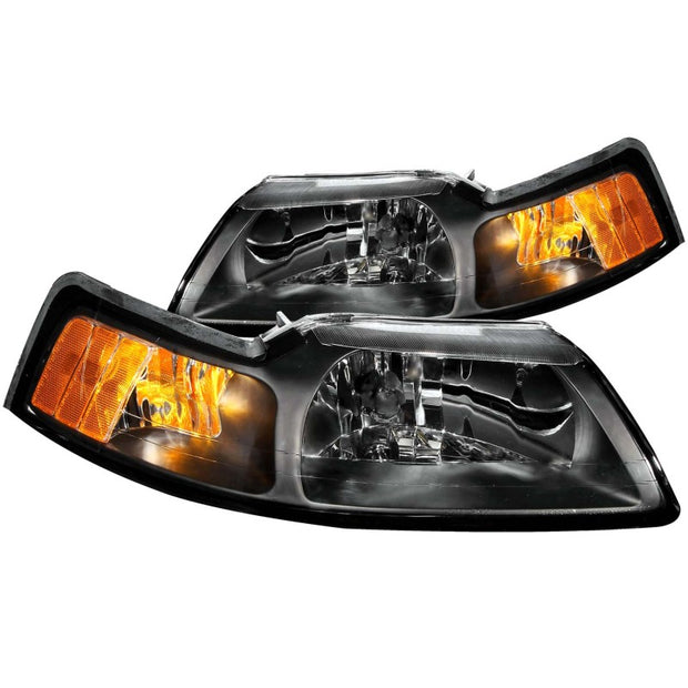 ANZO 1999-2004 Ford Mustang Crystal Headlights Black