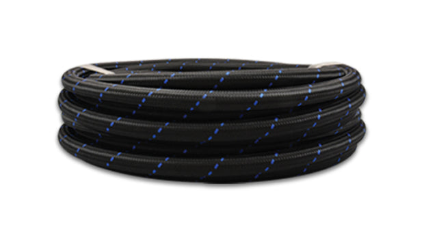 Vibrant -8 AN Two-Tone Black/Blue Nylon Braided Flex Hose (10 foot roll)