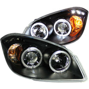 ANZO 2005-2010 Chevrolet Cobalt Projector Headlights w/ Halo Black w/ LED