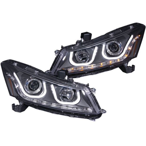 ANZO 2008-2012 Honda Accord Projector Headlights w/ U-Bar Black