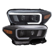 ANZO 2016-2017 Toyota Tacoma Projector Headlights w/ Plank Style Switchback Black w/ Amber