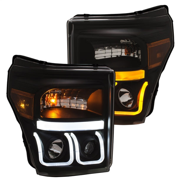ANZO 11-16 Ford F-150 Super Duty Projector Headlights w/ U-Bar Switchback Black w/ Amber