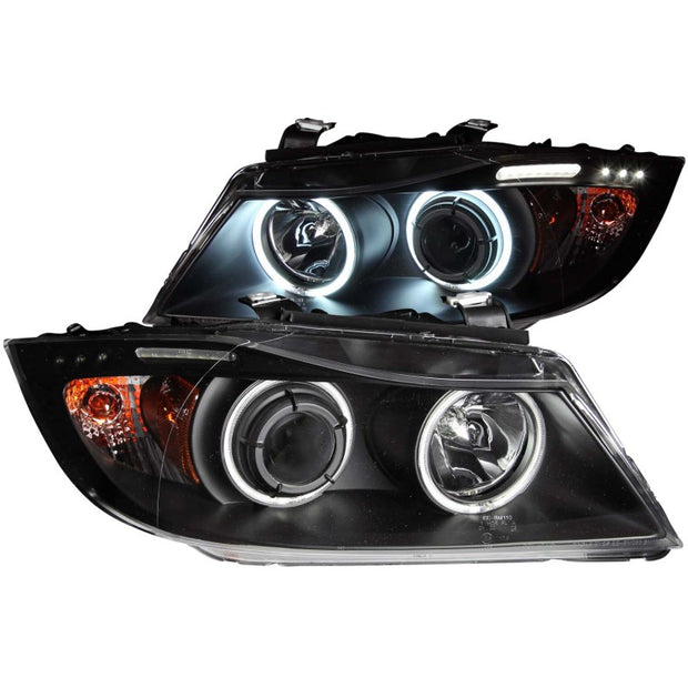ANZO 2006-2008 BMW 3 Series E90-E91 Projector Headlights w/ Halo w/ LED Bar Black (CCFL)