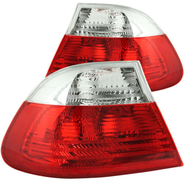 ANZO 2000-2003 BMW 3 Series E46 Taillights Red/Clear