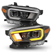 ANZO 2016-2017 Toyota Tacoma Projector Headlights w/ Plank Style Switchback Black w/ Amber w/ DRL