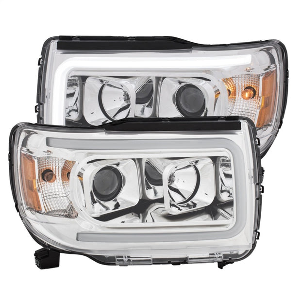 ANZO 2015+ GMC Canyon Projector Headlights w/ Plank Style Design Chrome w/ Amber