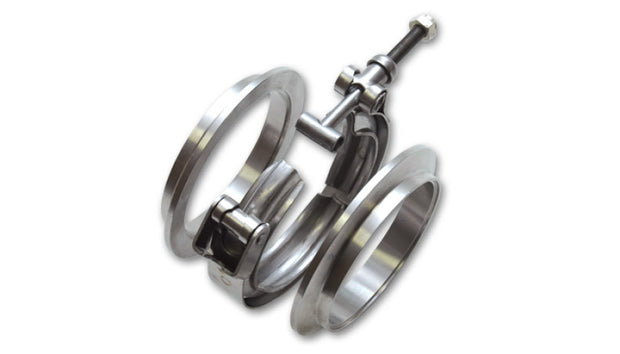 Vibrant T304 SS V-Band Flange Assembly for 2in O.D. Tubing incl 2 V-Band flanges & 1 V-Band Clamp